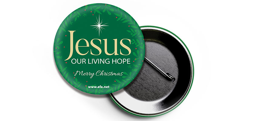 Christmas hope on a button